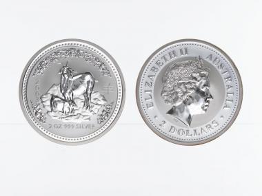 Australien 2$ Ziege Lunar I  2003, 2 oz  Silber