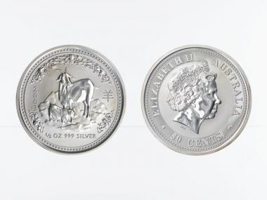 Australien 1/2$ $ Ziege Lunar I  2003, 1/2 oz  Silber