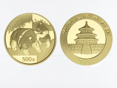 China 500 Yu  Panda 2008, 1 Unze Feingold