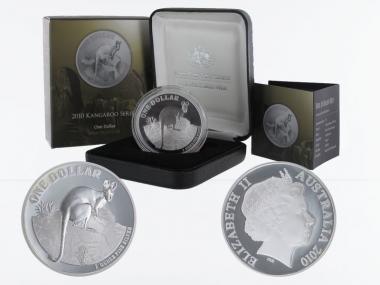Australien 1$ Känguru 2010, 1 oz  Silber proof (B+C)