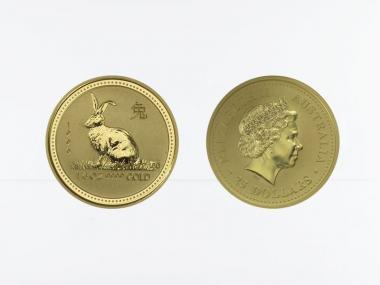 Australien 25 $ Lunar I  Hase, 1/4 Unze  1999
