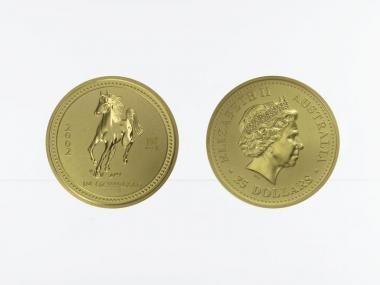 Australien 25 $ Lunar I  Pferd, 1/4 Unze  2002