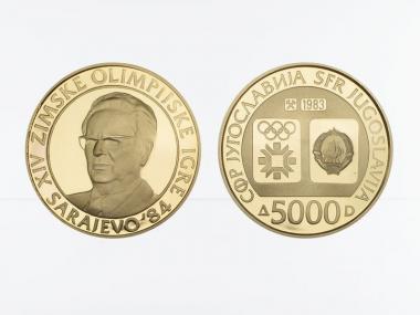Jugoslawien 5000 Dinar 1983, Olympische Winterspiele 1984, proof