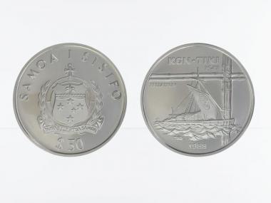 Samoa 50 $  Segelfloß Kon-Tiki 1988, 1 oz Palladium