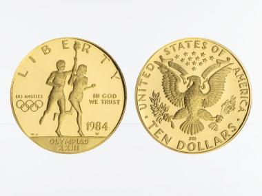 USA 10 $  Gold, Fackelläufer 1984 (W), PP