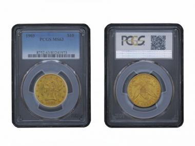 USA 10 Dollars Gold Eagle/Kopf 1903, Slab PCGS MS63