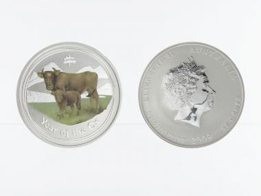 Australien 1/2$ Ochse Lunar II  2009, 1/2 oz  Silber farbig