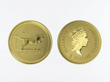 Australien 5 $ Lunar I Tiger, 1/20 Unze  1998