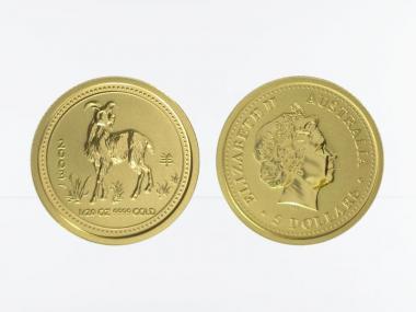 Australien 5 $ Lunar I Ziege, 1/20 Unze  2003
