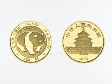 China 10 Yu  Panda 1983, 1/10 Unze Feingold