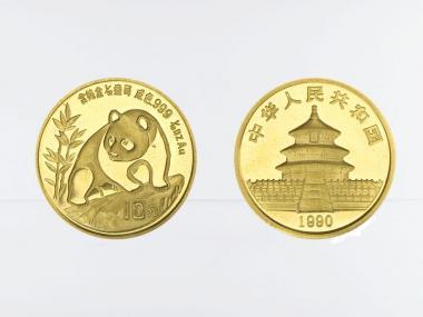 China 10 Yu  Panda 1990, 1/10 Unze Feingold