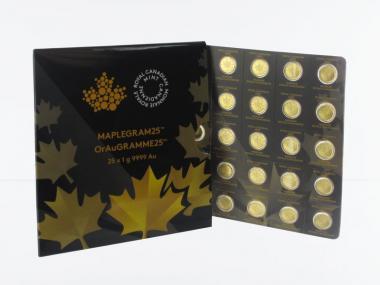 Kanada Maplegram 50 Cents, 25 x 1 g Maple Leaf, Blister