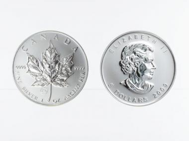 Kanada 5$ Maple Leaf 2009, Privy Mark  Londoner Tower Bridge