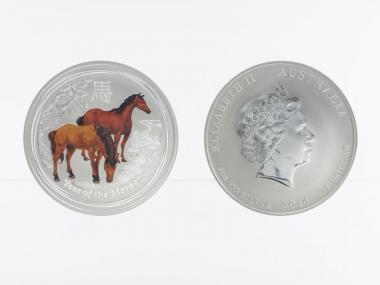 Australien 1$ Pferd Lunar II  2014 coloriert, 1 oz  Silber