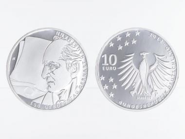 Gerhart Hauptmann 10 € Silber 2012, PP