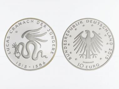 Lucas Cranach 10 € Silber 2015, PP