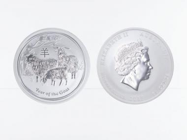 Australien 1/2$ Ziege Lunar II  2015, 1/2 oz  Silber