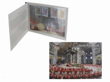 Vatikan 2 Euro Münze, 2013, Sede Vacante Numisbrief