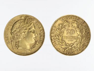 Frankreich 20 Fr. Ceres/ Kranz 1851 (A) Paris