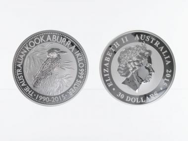 Australien 30$ Kookaburra 2015, 1 Kilo Kg  Silber