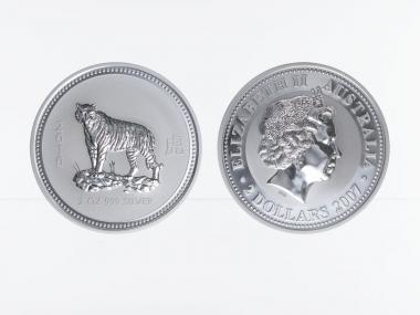 Australien 2$ Tiger Lunar I  2010, 2 oz  Silber