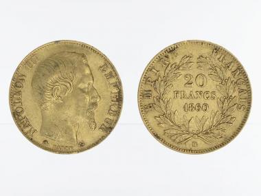Frankreich 20 Fr. Napoleon III/ Kranz 1860 (BB)