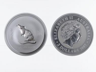 Australien 2$ Ratte Lunar I  2008, 2 oz  Silber