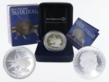 Neuseeland 1$ Kiwi 2005, 1 oz  Silber proof (B+C)