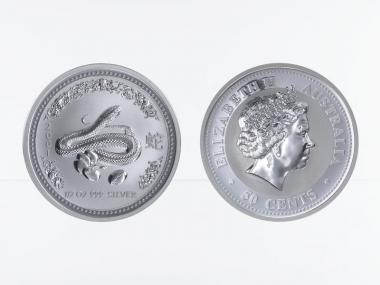 Australien 1/2$ $ Schlange Lunar I  2001, 1/2 oz  Silber