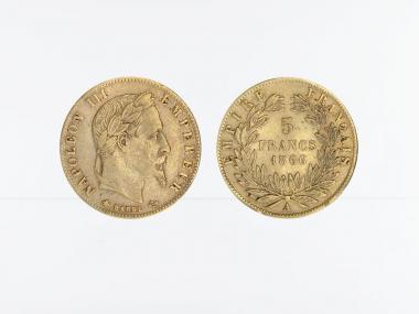 Frankreich 5 Fr. Napoleon III/ Kranz 1866 (A) Paris