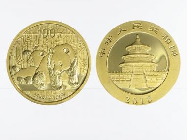 China 100 Yu  Panda 2010, 1/4 Unze Feingold