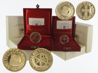 Vatikan 50000 L+100000 L Gold, Jahres-Set 2001