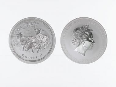 Australien 10$ Ziege Lunar II  2015, 10 oz  Silber