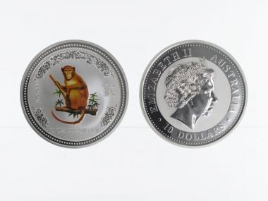 Australien 10 $ Affe Lunar I  2004 coloriert, 10 oz  Silber