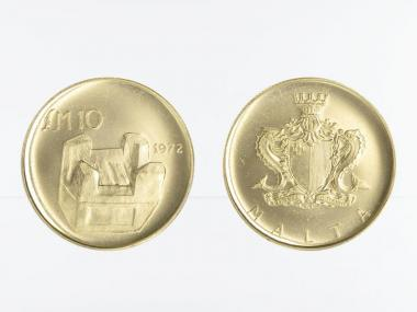 Malta 10 Pounds Gold, 1972, Holzkohlenofen Kenur