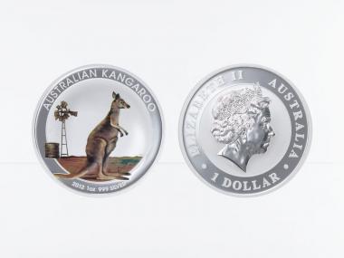 Australien 1$ Känguru 2012 coloriert, 1 oz  Silber