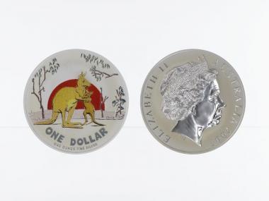 Australien 1$ Känguru 2007 farbig, 1 oz  Silber