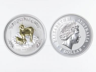 Australien 1 $ Ziege Lunar I  2003 gildet, 1 oz  Silber