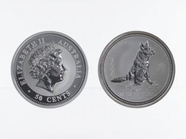 Australien 1/2$ $ Hund Lunar I  2006, 1/2 oz  Silber