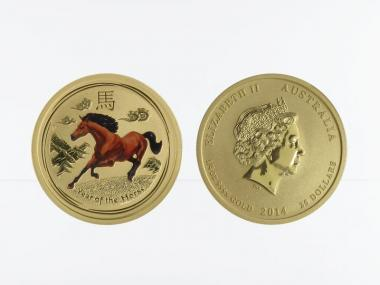 Australien 25$ Lunar II  Pferd coloriert, 1/4 Unze  2014