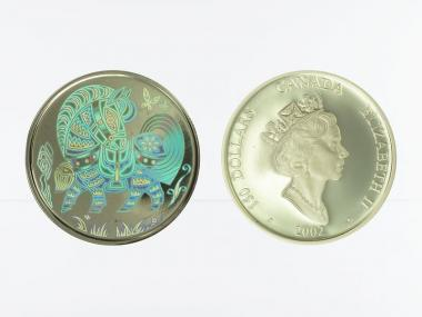 Kanada Pferd (Kinegramm) 150 Dollars 2002,  proof