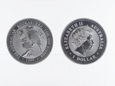 Australien 1$ Kookaburra 1999, 1 oz Privy Gold Coast Silber
