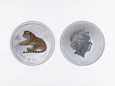 Australien 1$ Tiger Lunar II  2010, 1 oz  Silber farbig