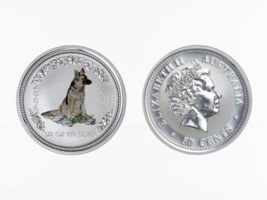 Australien 1/2$ $ Hund Lunar I  2006 coloriert, 1/2 oz  Silber