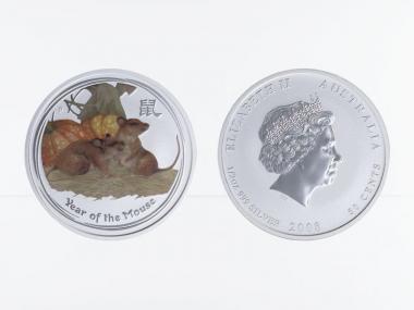 Australien 1/2$ Maus Lunar II  2008 farbig, 1/2 oz  Silber