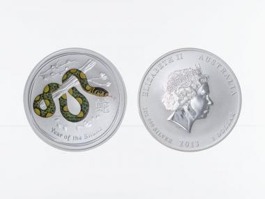 Australien 1$ Schlange Lunar II  2013 farbig, 1 oz  Silber
