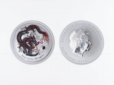 Australien 1$ Drache Lunar II  2012, coloriert, schwarz/rot