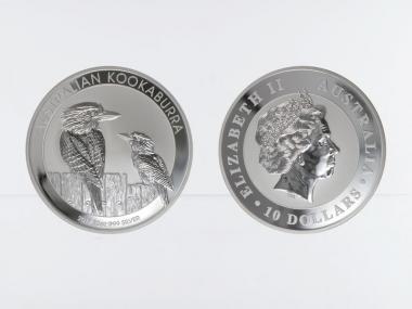 Australien 10$ Kookaburra 2017, 10 oz  Silber