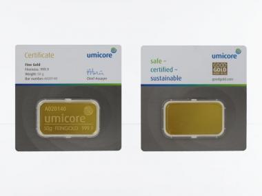 50 Gramm Goldbarren 999,9 Feingold, Zertifikat Hologramm
