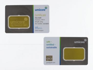 20 Gramm Goldbarren 999,9 Feingold, Zertifikat Hologramm